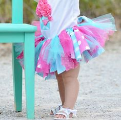 Rag tie tulle and fabric tutu skirt with headband or hair clip for birthday in pink and turquoise blue