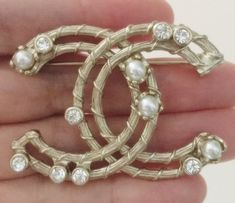 e4a80a07458 CHANEL Crystal Pearl Brooch Pin Gold Metal Hollow Style Authentic NIB
