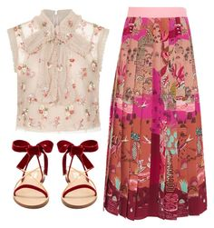 """Princessa Look"" by sweet-jolly-looks ❤ liked on Polyvore featuring Valentino, Needle & Thread, Summer, casual, sandals and valentino"