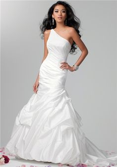 One shoulder taffeta dropped waist fit and flare gown with a dramatic draped bodice and asymmetric back shoulder strap. The flared skirt features pick ups, a bubble hem, and is finished with a chapel length train - Alfred Angelo