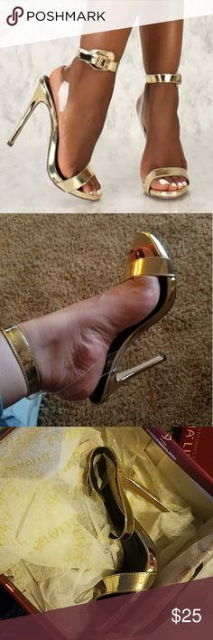 Metallic Gold Strap High Heels BNIB bought them online for a christmas party but they run a little big, they're 5.5 but they will sure fit a perfect 6...clear back strap Liliana Shoes Heels