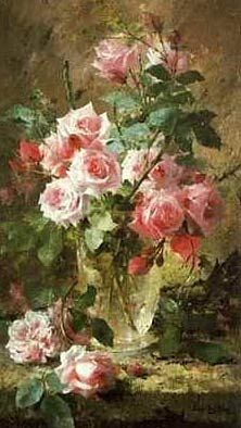 Pink Roses by Mortelmans, Frans - Art Print