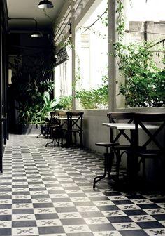 green plants & black tile