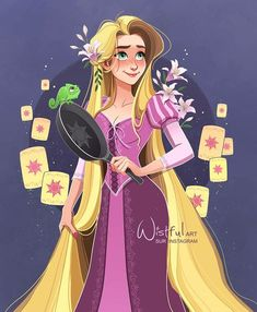 Rapunzel with Pascal the chameleon and frying pan and floating lanterns Disney Princess Drawings, Disney Princess Art, Disney Fan Art, Disney Drawings, Drawing Disney, Walt Disney Pixar, Disney Tangled, Disney And Dreamworks, Rapunzel Drawing