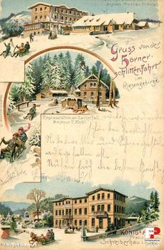 Dzielnica Szklarska Poręba Górna (Oberschreiberhau; Mariental), Szklarska Poręba - 1899 rok, stare zdjęcia Old Postcards, Austria, Westerns, Taj Mahal, Germany, Poster, Mountains, Illustration, Travel