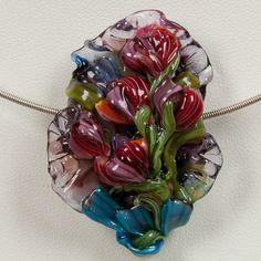 Glass Lampwork Bead Flower  Red/Pink & Orange Peony Posy by PatsyEvinsStudio, $87.00