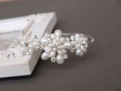 Floral Pearl Side Tiara with Diamantes, Wedding Tiara, Bridesmaid Hair £49.99