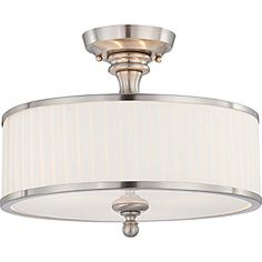 Candice Nickel and Flat Pleated White Shade 3-Light Semi Flush Fixture | Overstock.com