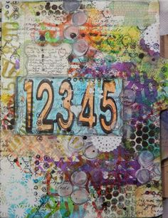 Create Every day and CREATE AS MUCH AS YOU CAN:  Mixed media Art Journal page using mists, stencils, stamping, gesso etc