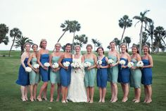 love the color combination of blue and mint for bridesmaids dresses