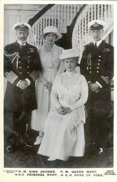 King George V and Queen Mary with two of their children, Princess Mary and the Duke of York.