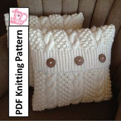 Knit pattern pdf, Cable knit pillow cover pattern, Blackberry Cables in 5 sizes - PDF KNITTING PATTERN Pdf Muster stricken Strickmuster Kabel Kissen von LadyshipDesigns Always wanted to learn to knit, nevertheless unsure th. Knitted Cushion Covers, Knitted Cushions, Crochet Pillow, Knit Crochet, Crochet Granny, Hand Crochet, Knitting Patterns, Crochet Patterns, Stitch Patterns