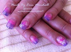 pink and purple glitter fade Acrylic Nails.  Nail Art