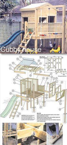 Backyard Playhouse Plans - Children's Outdoor Plans and Projects | WoodArchivist.com #woodworkingplans #outdoorplayhouseplans