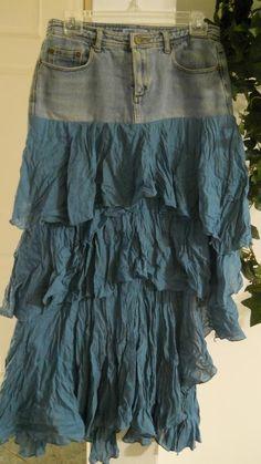 Mélusine water faerie jean skirt turquoise ruffled frou frou blue mermaid sea goddess Renaissance Denim Couture funky French bohemian Celtic