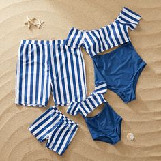 PatPat Striped Matching Swimsuit for Family in Navy Cute Comfy Outfits, Cute Girl Outfits, Cute Summer Outfits, Kids Outfits, Summer Bathing Suits, Cute Bathing Suits, Vestidos Deb, Baby Dolls, Bikini Modells
