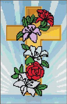 Holy Cross with Flowers counted embroidery design. 86 x 133 stitches 24 colors Cross Stitch Borders, Cross Stitch Flowers, Counted Cross Stitch Patterns, Cross Stitch Charts, Cross Stitch Designs, Cross Stitching, Cross Stitch Embroidery, Embroidery Patterns, Plastic Canvas Crafts