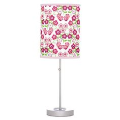 Butterfly Floral Garden Raspberry Pink Green Girl Desk Lamp - floral style flower flowers stylish diy personalize