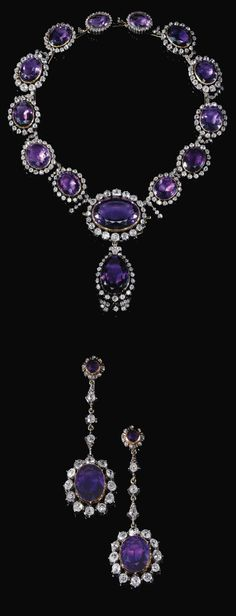 AMETHYST AND DIAMOND DEMI-PARURE, MID-19TH CENTURY. Comprising a necklace designed as a graduated series of oval amethysts each set within a frame of cushion-shaped and circular-cut diamonds, suspending a detachable amethyst and diamond pendant, and a pair of earrings similarly set, post fittings, originally part of the necklace, later set as earrings. Once the property of Queen Amalia of Greece.