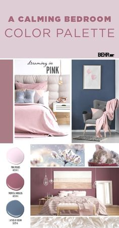 You'll have nothing but sweet dreams thanks to this calming bedroom color palette from BEHR Paint. Combine the light blush hue of Pink Posies with the deep rose tones of Tropical Hibiscus. Then, use the dark blue hue of Layers Of Ocean as a contrasting ac Calming Bedroom Colors, Bedroom Colour Palette, Bedroom Paint Colors, Bedroom Color Schemes, Colour Schemes, Kids Bedroom Paint, Colourful Bedroom, Blush Color Palette, Blue Bedroom