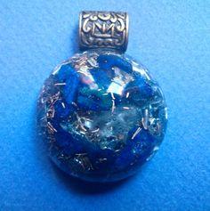 Round Lapis Lazuli Orgonite Protection Pendant. by AlchemyArtist, $20.00