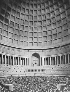 Albert Speer, Berlin Capital, Grosse Halle, Model with people photo by Krier, Germany. In the arch one could recognize. Fascist Architecture, German Architecture, Conceptual Architecture, Welthauptstadt Germania, Lila Baby, Futuristisches Design, Nazi Propaganda, The Third Reich, Alternate History