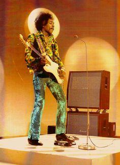 Jimi Hendrix on stage.