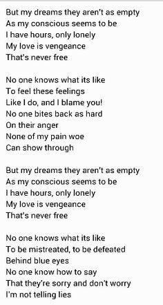 Limp Bizkit - Behind Blue Eyes - Lyrics - YouTube