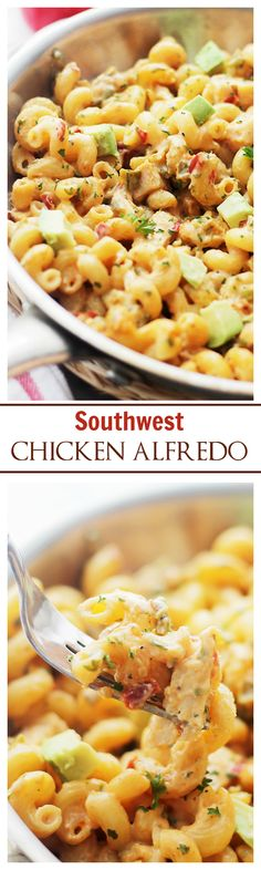{Southwest USA} Southwest Chicken Alfredo - This is so easy and delicious, and with just a few ingredients on hand, you can have this ready in 30 minutes! It's creamy, dreamy and sooooo good!