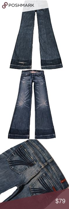 """7 For All Mankind """"Dojo"""" SZ 28 Inseam 34.5"""" (#306) A Super Cute Pair Of 7 For All Mankind """"Dojo"""" Women's SZ 28 Flare Leg Med/Light Distressed Wash Blue Sprayed 7 Low-Rise Stretch Jeans. Wear on Hem And Hole on Bottom Back Hem. Extra Long Inseam 34.5"""" Style# U115E202S-202S Cut# 719775 Measurements: Waist: 28"""" Hips: 39"""" Front rise: 8"""" Back rise: 13.5"""" Inseam: 34.5"""" 7 For All Mankind Jeans Flare & Wide Leg"""