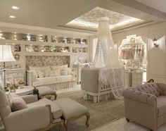 Princess-Themed Bedroom Ideas for Your Little Princess - Babyzimmer Baby Bedroom, Baby Room Decor, Nursery Room, Girl Nursery, Girl Room, Girls Bedroom, Princess Nursery Theme, Twin Baby Rooms, Royal Nursery