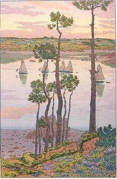 Henri Rivière (1864-1951) - Les Bords du Trieux au Crépuscule (The Edges of Trieux at Dusk). Lithograph. Bretagne, France. Circa 1903.