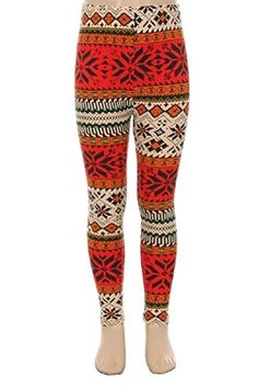 L4U Girls Winter Wonderland Snowflake Brushed Printed Fashion Leggings. Available in two sizes: S/M, and L/XL.