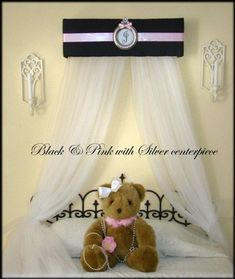 Princess Canopy for Bedroom Black Pink Tiara Crown Nursery Bed Crib Personalized FREE curtains SALE Custom So Zoey Boutique Nursery Name, Nursery Bedding, Bed Crown Canopy, Canopy Crib, Canopy Bedroom, Princess Canopy, Pink Princess, Curtains For Sale, Sheer Curtains