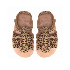Leopard print leather sandal. Aw, baby feets!