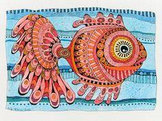 Zeichnung, roter Fisch, TimpeTe AKR 14 von tisch8-artwork auf DaWanda.com