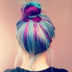 Teal and purple hair in a messy bun! Love Hair, Gorgeous Hair, Hair Colorful, Pelo Multicolor, Coloured Hair, Dye My Hair, Mermaid Hair, Rainbow Hair, Crazy Hair
