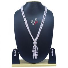 Stylish Pearl Necklace Set in Dark Pink Small Baroque Pearls