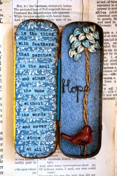 HOPE is the thing with feathers that perches in the soul, and sings the tune wit. Altered Tins, Altered Art, Hope Is The Thing With Feathers, Small Tins, Small Boxes, Mint Tins, Matchbox Art, Tin Art, Tin Containers