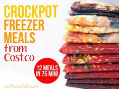Crockpot freezer meals from Costco. 12 meals in 75 minutes! Some good tips for planning freezer meals, plus healthy recipes to try out. Freezer Friendly Meals, Slow Cooker Freezer Meals, Crock Pot Freezer, Freezer Cooking, Crock Pot Cooking, Crock Pot Slow Cooker, Slow Cooker Recipes, Crockpot Recipes, Cooking Recipes
