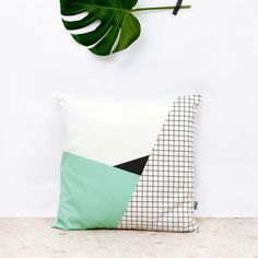 Whimsy cotton pillow designed by Depeapa and inspired by Memphis Milano, a movement of architecture and industrial design in the 80s. Made in Spain. Feather-Down insert included Materials: 100% Organi