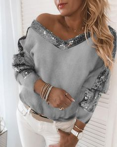 Sequin Outfit, Sequin Sweater, Grey Sweater, Long Sleeve Sweater, Vneck Outfit, Long Sleeve Tops, Casual Sweaters, Long Sweaters, Sweaters For Women