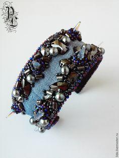 """Купить браслет """"Sharp thorn"""" - голубой, Браслет ручной работы, браслет из бисера, браслет с шипами"""