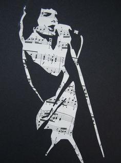 Unique, handmade Freddie Mercury (Queen) sheet music stencil