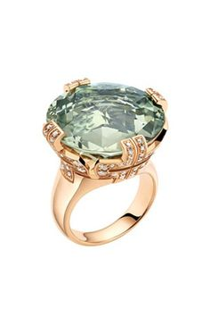 Bvlgari Parentesi Pink-Gold, Green-Quartz And Diamond Cocktail Ring - For Women in Green (pink) I Love Jewelry, Jewelry Box, Jewelery, Jewelry Accessories, Fine Jewelry, Jewelry Design, Bijou Box, Bulgari Jewelry, Big Rings