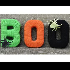 Can make these so easily.   ON SALE Yarn Wrapped Letters Boo Halloween Decor by MarkYourWords, $12.50