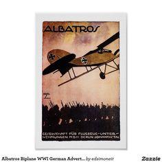 Albatros Biplane WWI German Advertisement