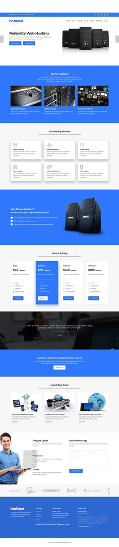Hostland is clean and modern design responsive #bootstrap template for onepage #web #hosting services website to live preview & download click on Visit