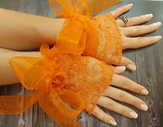 Hey, I found this really awesome Etsy listing at https://www.etsy.com/uk/listing/199407800/orange-tulle-wedding-cuff-halloween