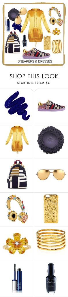 """All that Glitters"" by kelly-floramoon-legg ❤ liked on Polyvore featuring Obsessive Compulsive Cosmetics, Gucci, Tommy Hilfiger, Linda Farrow, Dolce&Gabbana, Marc by Marc Jacobs, David Tutera, Kenneth Jay Lane, Clinique and Wet n Wild"